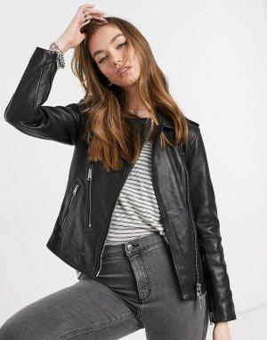 Черная кожаная байкерская куртка Allsaints-Черный цвет AllSaints