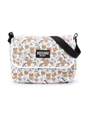 Пеленальная сумка с логотипом Moschino Kids. Цвет: белый