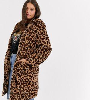 Длинная шуба из искусственного меха с леопардовым принтом -Коричневый Daisy Street Plus
