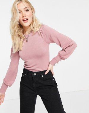 Розовый свитшот в рубчик с пышными рукавами -Фиолетовый цвет Hollister