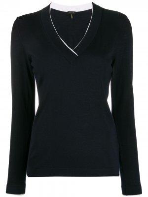 Пуловер кроя слим с V-образным вырезом Escada. Цвет: синий