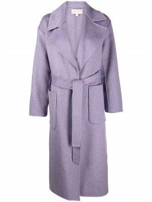 Однобортное пальто с поясом Michael Kors. Цвет: фиолетовый