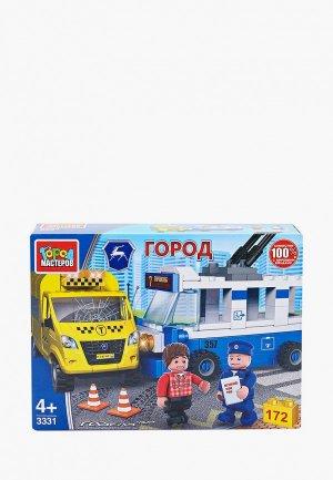 Конструктор Город Мастеров Авария: троллейбус и такси, 172 детали. Цвет: разноцветный