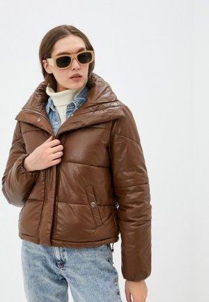 Куртка кожаная Softy. Цвет: коричневый
