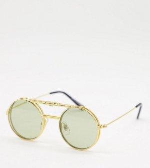 Золотистые солнцезащитные очки в стиле унисекс с оливково-зелеными линзами Lennon Flip – эксклюзивно для ASOS-Золотистый Spitfire