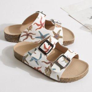 Тапочки с узором морской звезды и пряжкой для девочек SHEIN. Цвет: многоцветный