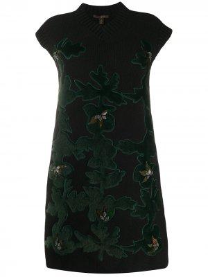 Вязаное платье с фактурными нашивками Louis Vuitton. Цвет: черный