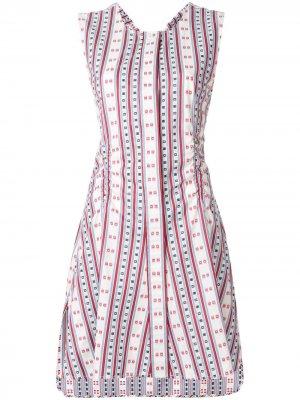 Расклешенное платье без рукавов в полоску Carven. Цвет: разноцветный