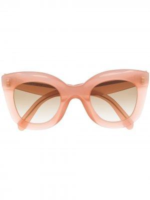 Солнцезащитные очки в массивной оправе Celine Eyewear. Цвет: розовый