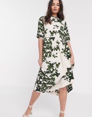 Платье миди с принтом -Многоцветный Ichi