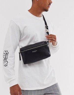 Кожаная квадрантная сумка-кошелек -Черный Bolongaro Trevor