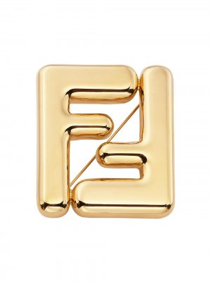 Брошь с логотипом FF Fendi. Цвет: золотистый