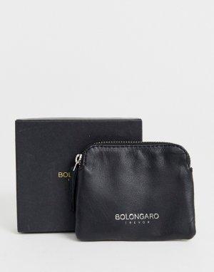 Кожаный кошелек для монет на молнии -Черный Bolongaro Trevor