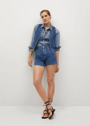 Джинсовые шорты с заклепками - Paty Mango. Цвет: темно-синий