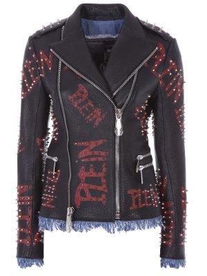 Куртка-косуха кожаная с принтом PHILIPP PLEIN