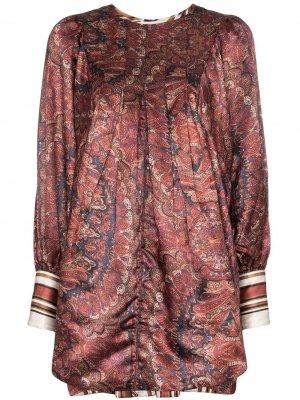 Атласное платье мини Vintage с узором пейсли byTiMo. Цвет: коричневый