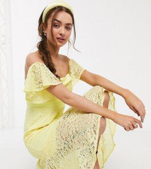 Кружевное платье макси лимонного цвета с годе -Желтый Little Mistress Petite