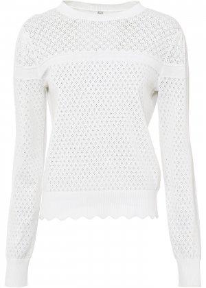 Пуловер ажурный bonprix. Цвет: белый