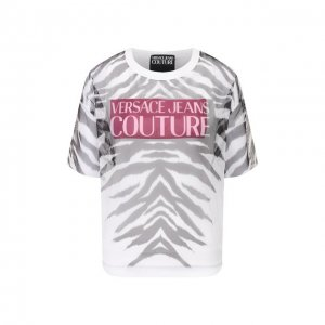 Хлопковая футболка Versace Jeans Couture. Цвет: белый