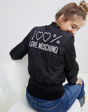 Дутый бомбер -Черный Love Moschino