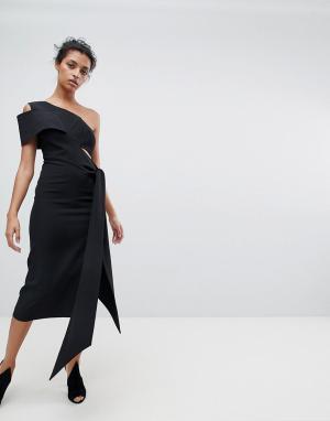 Платье-футляр миди на одно плечо с драпировкой AQ/AQ AQ. Цвет: черный