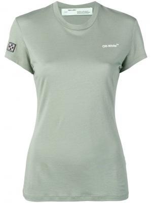 Приталенная футболка с логотипом Off-White. Цвет: зеленый