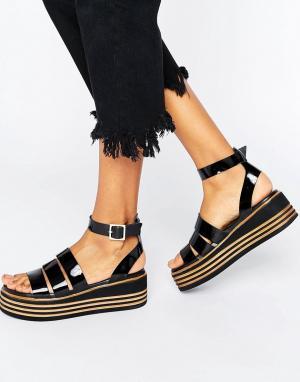 Массивные кожаные сандалии с ремешками ASOS TREASURED DESIGN. Цвет: черный