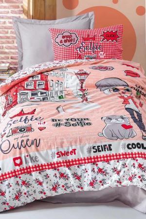 Комплект детского постельного белья Cotton box. Цвет: red, white, gray