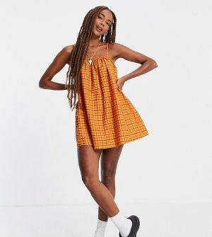 Льняное летнее платье в клетку стиле 70-х COLLUSION-Оранжевый цвет Collusion