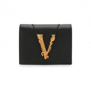 Кожаное портмоне Virtus Versace. Цвет: чёрный