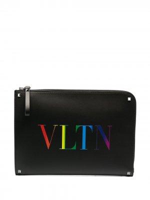 Клатч с логотипом VLTN Valentino Garavani. Цвет: черный