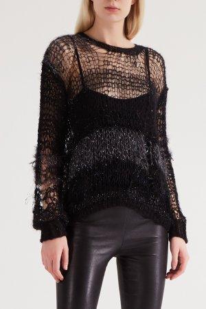 Черно-серый пуловер-паутинка Rodarte. Цвет: черный