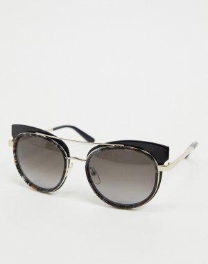 Серебристо-черные солнцезащитные очки-авиаторы Etro-Черный цвет ETRO