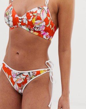 Красные плавки бикини с завязками по бокам Wild Flower-Многоцветный Freya