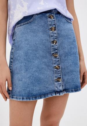 Юбка джинсовая Pieces. Цвет: голубой