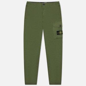Мужские брюки Stretch Cotton Gabardine Slim Fit Stone Island. Цвет: оливковый