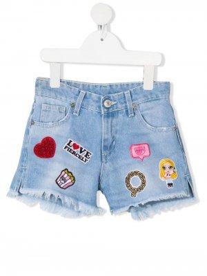 Джинсовые шорты Eyelike с вышивкой Chiara Ferragni Kids. Цвет: синий