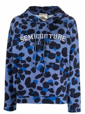 Худи с леопардовым принтом и логотипом Semicouture. Цвет: синий