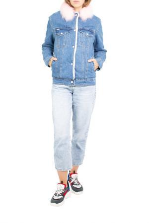 Джинсовая куртка с песцом Dasti. Цвет: синий