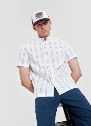 Хлопковая рубашка в полоску с мао-воротником O`Stin. Цвет: белый