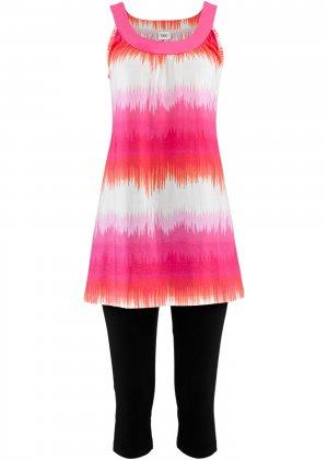 Платье мини + леггинсы капри bonprix. Цвет: ярко-розовый