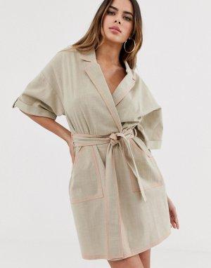Повседневное платье мини -Бежевый ASOS DESIGN