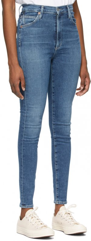 Blue High-Rise Chrissy Jeans Citizens of Humanity. Цвет: story