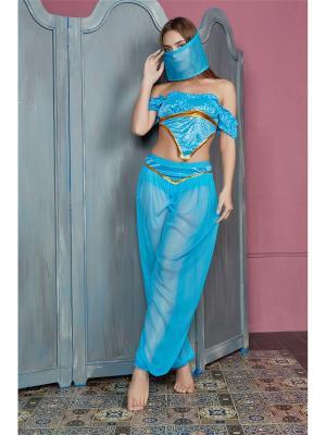 Костюм для восточных танцев Принцесса Аграбы Nothing but Love. Цвет: голубой, золотистый