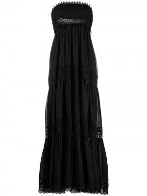 Платье макси без бретелей с кружевными вставками Charo Ruiz Ibiza. Цвет: черный