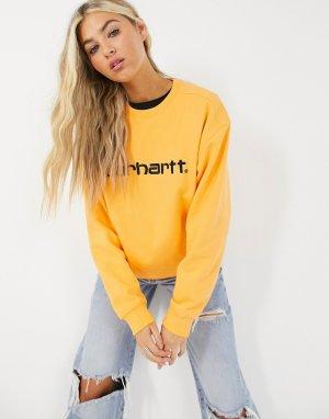 Черно-оранжевый свитер с логотипом Carhartt WIP