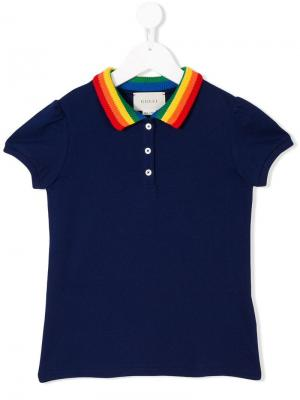 Embroidered butterfly polo shirt Gucci Kids. Цвет: синий