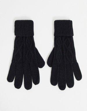 Трикотажные перчатки с узором в косичку -Черный цвет Boardmans