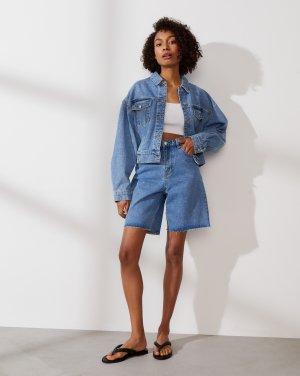 Куртка джинсовая на резинке 12STOREEZ. Цвет: синий