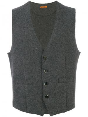 Трикотажный жилет с карманами листочкой Barena. Цвет: серый